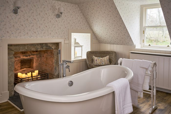 The Boat House, Luxury Self-Catering, Rothiemurchus, Bathroom, Roll Top Bath, Candles