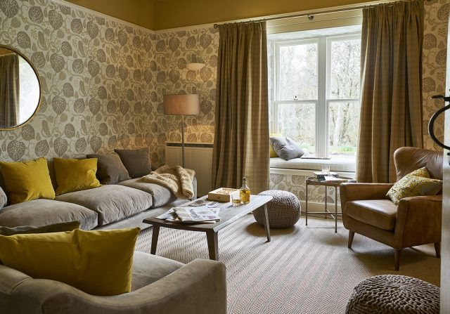 The Living Room at The Boathouse - luxury cottage Rothiemurchus, Cairngorms National Park